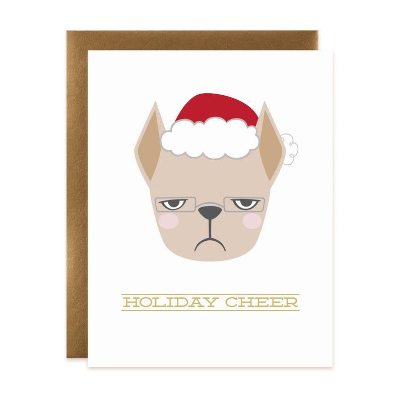 French Bulldog Holiday Card  Highbrow Frenchie Christmas Card image 0