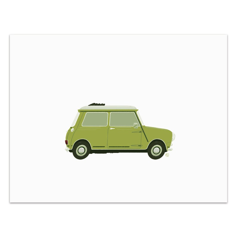 Lucy  Classic Convertible in Lime Green  Art Print image 0