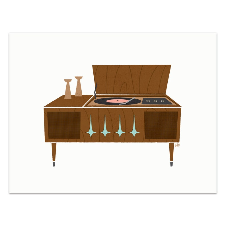 Record Player  Sideboard Art Print image 0