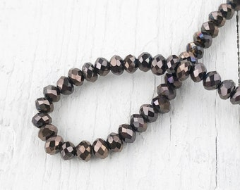 Czech MC Glass Bicone Beads Crystal Senegal Luster brown coat Rondell//Diamond
