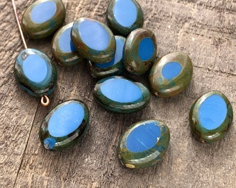 Blue Oval Opaque Czech Glass Beads Picasso Table Cut Matte Royal Capri Lentils 16mm x 12mm with Brown Travertine Stone Effect