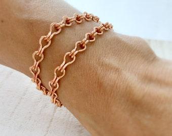 Copper Bracelet Ladder Chain, Adjustable Solid Copper Charm Bracelet, Unique Chain Custom Size Artisan Mens Womens Pure Copper Anklet