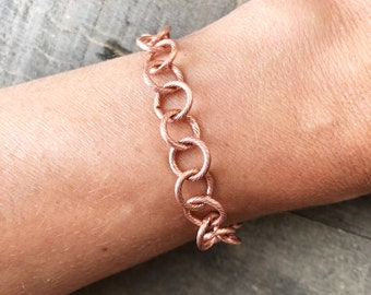 Round Chain Copper Bracelet, Etched Circle Cable Chain, Textured Solid Copper Adjustable Bracelet, Artisan Pure Copper Anklet
