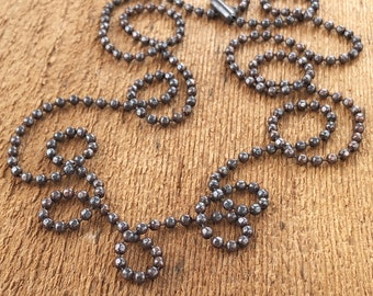 """16"""" to 36"""" 2.4mm Antiqued Copper """"Faceted"""" Ball Chain Necklace, Finished Oxidized Aged Rustic Boho Black Copper Chain"""