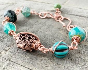 Genuine Copper Aqua Beaded Bracelet Adjustable Chunky Wirework Bracelet. Turquoise Czech Glass Beads Wire Wrapped Genuine Copper
