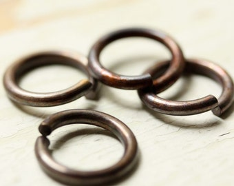 """14g Huge Antiqued Brass Jump Rings 3/8"""" ID, 14mm Jumprings, Large Saw Cut Open, Aged Oxidized Solid Brass Findings"""