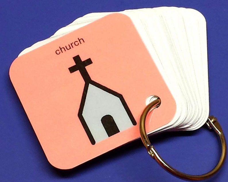 Going to Church Communication Keyring  PCS Autism ABA Visual image 0