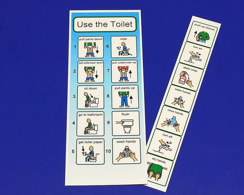PECS Visual Aid for Using the Toilet  Laminated Hand Washing image 0