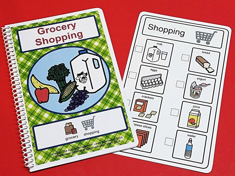 Grocery Shopping PCS Social Skills and Life Skills Story and image 0