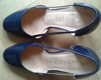 Vintage Ladies shoes 70s-80s High Heeled shoes, Blue Pumps, Coquettes, Decolletès, Size US 6 circa - UK 3 circa - It 36
