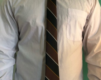 1950's Vintage Brown & Black Skinny Necktie l Dacron/Polyester