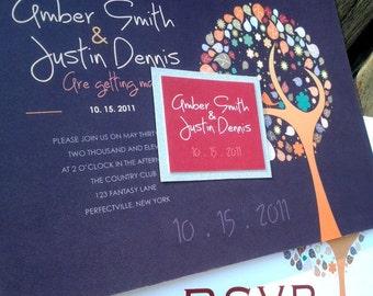 Beautiful Artistic Fall Tree with Two Love Birds Wedding Invitations - 3.50 per invite - DEPOSIT