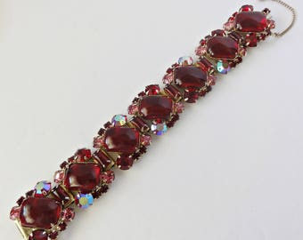 Vintage Mid Century Red and Pink Rhinestone Bracelet Large Red Lucite Cabochons Box Clasp with Safety Chain 7 Inches Long 1 Inch Wide