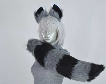 Silver Raccoon Furry Ear and/or Tail Set Cosplay, Accessories, Costume