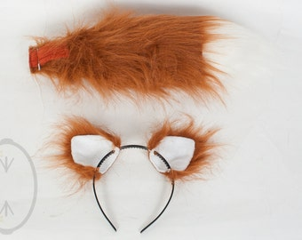 """SMALL Rust Furry Ear and/or 16"""" Tail with white tip Set Cosplay, Accessories, Costume - for Kids or Adults"""