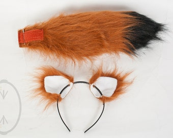"""SMALL Rust Furry Ear and/or 16"""" Tail with black tip Set Cosplay, Accessories, Costume - for Kids or Adults"""