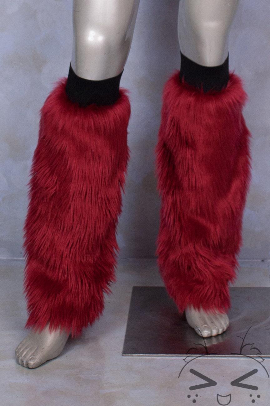 Dark Red Luxury Fur Legwarmers For Raves Cosplay Fur