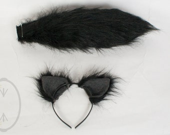 """SMALL Black Cat, Wolf Furry Ear and/or 16"""" Tail Set Cosplay, Accessories, Costume - for Kids or Adults"""