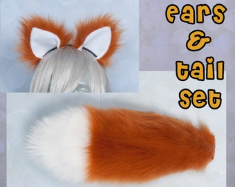 """SMALL Rust Furry Ear and/or 16"""" Tail with white tip Set Luxury, Cosplay, Accessories, Costume - for Kids or Adults"""