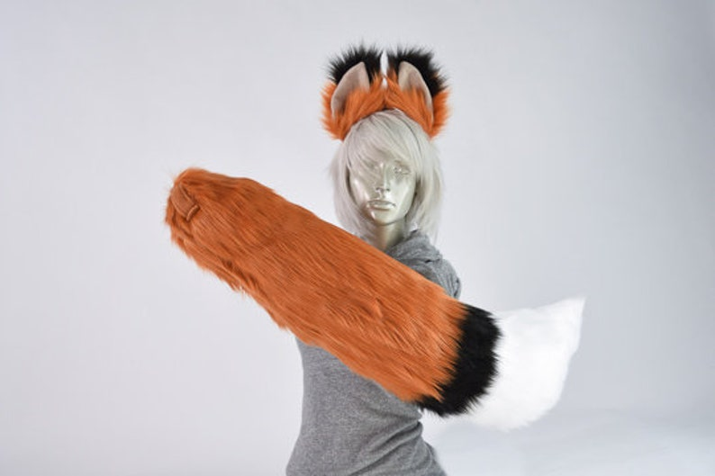 Accessories DELUXE Rust Copper Furry Fox Tail and Ears Cosplay Highly Customizable Costume