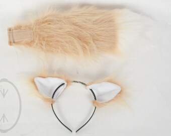 """SMALL Gold Tan Fox, Cat, Wolf Furry Ear and/or 16"""" Tail with white tip Set Cosplay, Accessories, Costume - for Kids or Adults"""