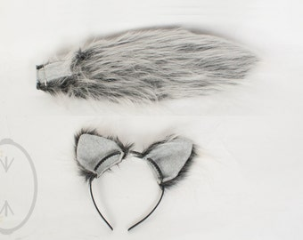 """SMALL Silver Wolf Furry Ear and/or 16"""" Tail Set Cosplay, Accessories, Costume - for Kids or Adults"""