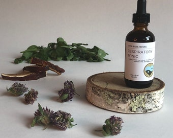 Respiratory tonic herbal tincture, cough remedy, lung health, breathe easy, herbal remedy, healing herbs, winter wellness