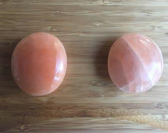Peach Selenite, healing crystals, gemstones, palm stones, metaphysical, healing stones, crystal therapy, crystal healing, holiday gift,