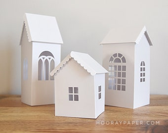 Paper House SVG Cutting Files, 3D Houses, DXF, Die Cut, Putz House, Luminary, Farmhouse, Church Template