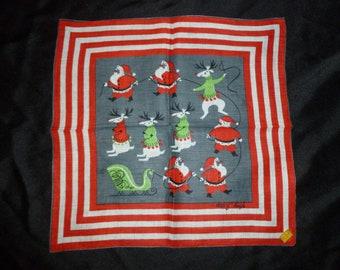 Vintage Tammis Keefe Santa Handkerchief