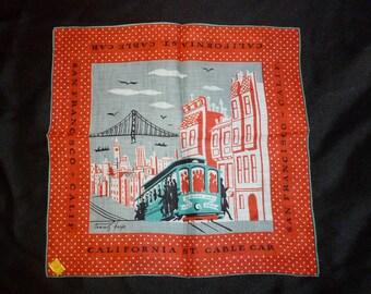 Vintage Tammis Keefe San Francisco Cable Car Handkerchief