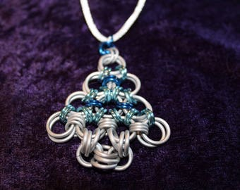 Handcrafted chainmaille white and blue Christmas tree necklace
