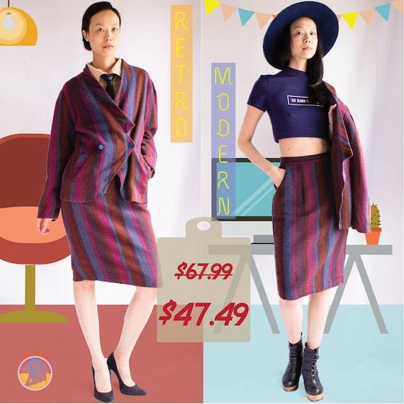 SALE - 80s power suit / wool suit set / stripe dre