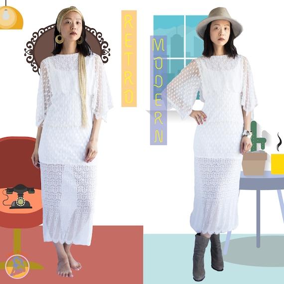 Vintage boho dress / 80s boho dress / Vintage lace