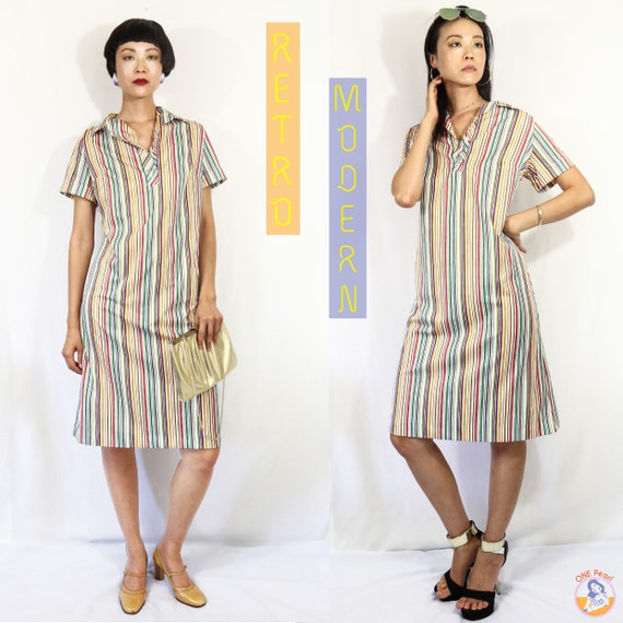 Vintage strip shift dress / Vintage XL dress / 60s