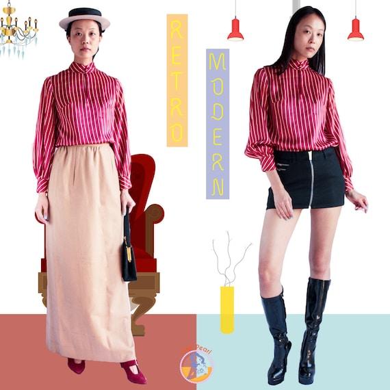 Vintage 60s blouse / Mod stripe blouse / 60s mod s