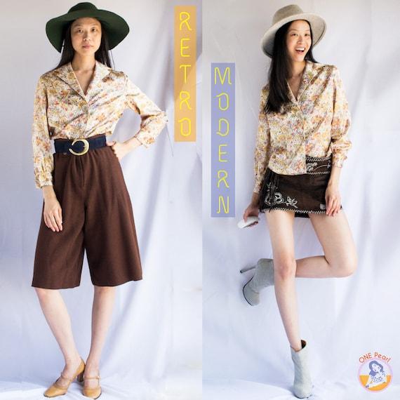 Vintage large paisley blouse / 60s paisley blouse