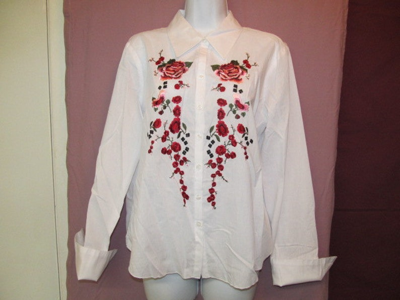 Embroidery Shirt Women Sleeve Blouse Lace Crochet Tops S Tee Etsy