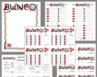Diva Bunco Printable Set, Bunco Score Cards & Tally Sheet, Instant Download, Editable Bunco Invites