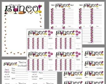 Wine a Bit Bunco Printable Set, Love Wine Bunco Score Cards & Tally Sheet, Instant Download, Editable Bunco Invites