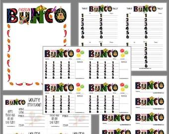 Fiesta Bunco Printable Set, Cinco de Mayo Bunco Score Cards & Tally Sheet, Instant Download, Editable Bunco Invites