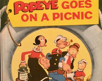 Popeye Goes on a Picnic, As Seen On TV, Wonder Books No. 697, King Features New York 1958