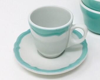 Shenango China, Espresso Cup and Saucer, Aqua and White, 1956