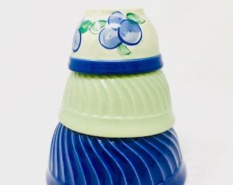 Fiori Ware, Mixing Bowls, Set of Three, Bright Green and Blue, Roseville Ohio, circa 2000