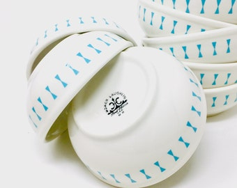 Homer Laughlin, Large Chili Bowl, Turquoise Bow Tie,  Restaurant Ware, HLC Best China, 1972