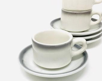 Diner Cup and Saucer, Gray Airbrushed, Buffalo Mug, Shenango Saucer,  Restaurant Ware, 1962