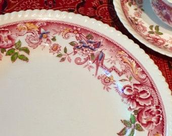Devonshire Dinner Plate, Red Multicolor Floral, Dragoon Edge, Underglaze Pattern, Johnson Bros, Staffordshire England, Patent 118579, 1920s