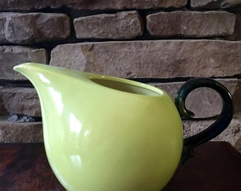 Hull Pottery Crescent Water Pitcher, MCM Chartreuse and Forest Green,  B-8 ca. 1952