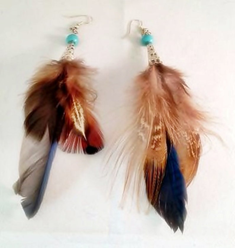 Irresistible Turquoise Stone Bead w/ Long Tail Feather 5 image 0