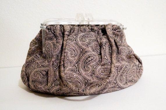Vintage Paisley Handbag Clear Lucite Frame 1950s